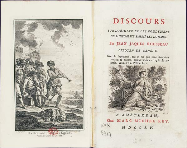 picture of frontispiece and title page of Rousseau's Discourse on the Origin of Inequality, 1755
